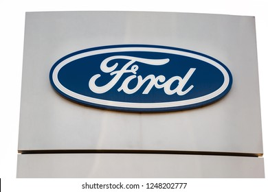 GERMANY, WETZLAR - AUGUST 29, 2017: Logotype of Ford corporation. Ford company logo on dealership building