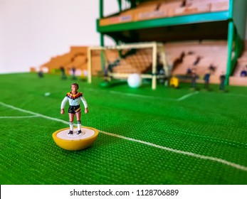 Germany World Cup Subbuteo football figures lined up on a grass football field