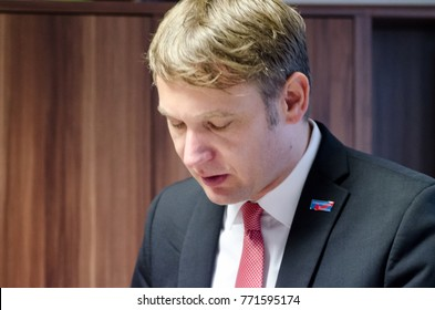 GERMANY, ZEITZ - DECEMBER 09, 2017: Andre Poggenburg at the reopening of the AfD constituency office Zeitz. Left-wing attacks had completely destroyed the AfD constituency office.