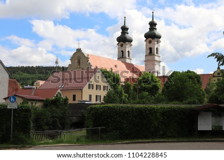 GERMANY, ZWIEFALTEN, JUNE 02, 2018: View from the car park to the Zwiefalten Abbey