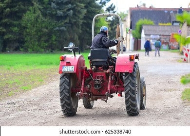 GERMANY-APRIL 19:farmer drives a tractor  on April 19,2017 in Germany.