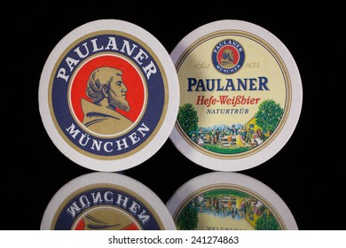Germany,Berlin -December 12,2014:Beermats from Paulaner beer.Paulaner is a German brewery, established in 1634 in Munich by the Minim friars of the Neudeck ob der Au cloister.