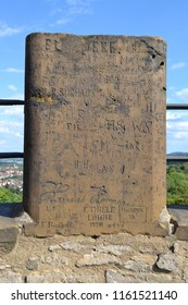 GERMANY,BIELEFELD-AUGUST 10, 2018: Age-old inscriptions carved on a stone tooth,ancient castle Sparrenburg
