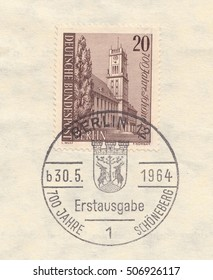 GERMANY-CIRCA 1964:A stamp printed in Germany,shows Schoneberg Town Hall,circa 1964.