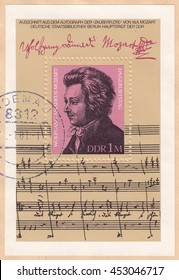 GERMANY-CIRCA 1981:A stamp printed in Germany,shows portrait of Wolfgang Amadeus Mozart Austrian composer,circa 1981.