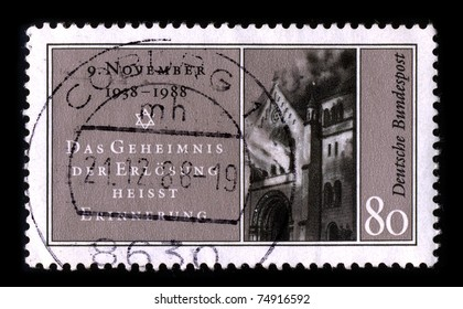 GERMANY-CIRCA 1988:A stamp printed in GERMANY shows image of the Kristallnacht, also to referred to as the Night of Broken Glass, and also Reichskristallnacht, Pogromnacht, circa 1988.