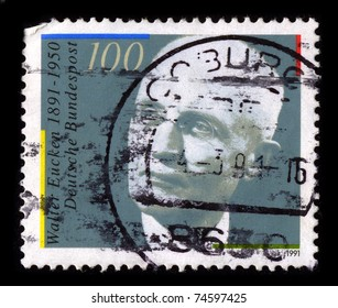 GERMANY-CIRCA 1991:A stamp printed in GERMANY shows image of Walter Eucken (17 January 1891 - 20 March 1950) was a German economist and father of ordoliberalism, circa 1991.