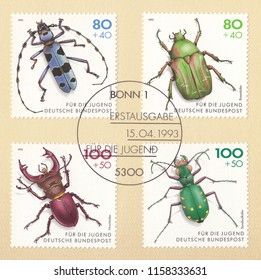 GERMANY-CIRCA 1993:A stamp printed in Germany,shows Beetles: Rosalia Longicorn (Rosalia alpina),Green Rose Chafer (Cetonia aurata),Stag (Lucanus cervus),Green Tiger (Cicindela campestris),circa 1993