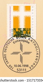 GERMANY-CIRCA 1998:A stamp printed in Germany,shows 150th anniversary of first Congress of German Catholics.Postmark Bonn,circa 1998