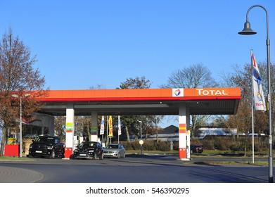 GERMANY-DEC 29:view on the TOTAL gas station on December 29,2016 in Frankfurt,Germany.Total is a French multinational oil company and one of the Supermajor oil companies in the world.