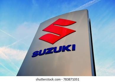 GERMANY-DECEMBER 30,2017:Suzuki Motor Corporation logo.Suzuki Motor Corporation is a Japanese multinational corporation,that manufactures automobiles, four-wheel drive vehicles, motorcycles.