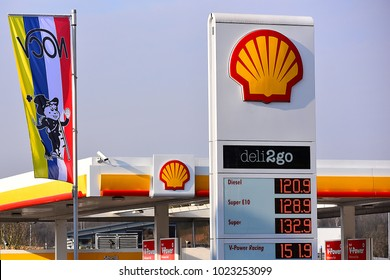 GERMANY-FEBRUARY 07,2018:SHELL gas station.Shell, is a British–Dutch multinational oil and gas company headquartered in the Netherlands and incorporated in the United Kingdom.