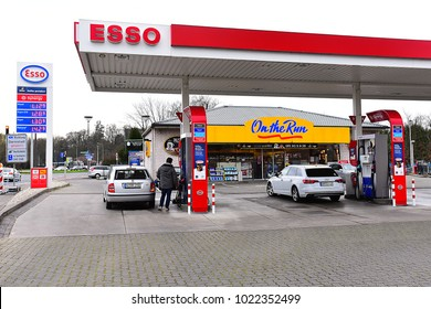 GERMANY-FEBRUARY 10,2018:ESSO gas station.Esso- trading name for ExxonMobil and its related companies.Exxon Mobil Corporation-American multinational oil and gas corporation headquarte in Texas.