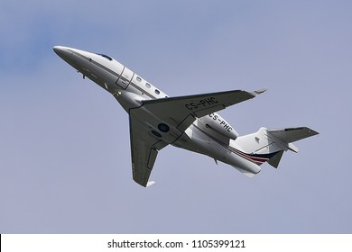 Düsseldorf ,GERMANY-JUNE 03,2018:CS-PHC NetJets Europe Embraer EMB-505 Phenom 300.NetJets Europe is a company that offers fractional ownership of private business jets.