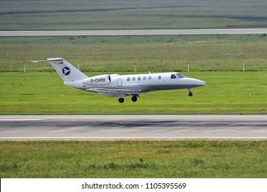 Düsseldorf ,GERMANY-JUNE 03,2018:D-CHRB Hahn Air Cessna 525 Citation CJ4.