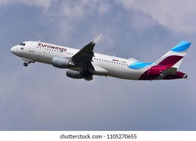 Düsseldorf ,GERMANY-JUNE 03,2018:Eurowings D-AEWN Airbus A320.