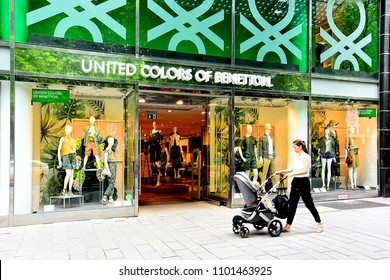 Düsseldorf, GERMANY-MAY 25,2018:UNITED COLORS OF BENETTON.  fashion store.Benetton Group S.r.l. is a global fashion brand based in Ponzano Veneto, Italy.