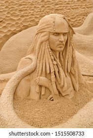 Germany,Mecklenburg,Binz 22.08.2019 Sand Sculpture Captain Jack Sparrow, Pirates of the Caribbean - Art on the beach
