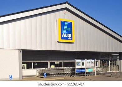 GERMANY-OCT 30:ALDI store on October 30,2016 in Germany.Aldi is a leading global discount supermarket chain with over 9,000 stores in 18 countries.