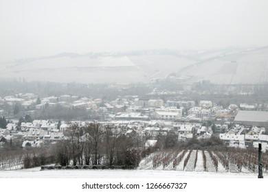 Germany,Wurzburg, december2018:Snow landscape of Wurzburg