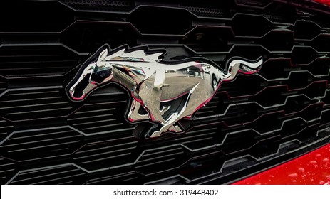 Germering Auto Show, September 20 2015 Germany - Sunday, Logo of the new Ford Mustang