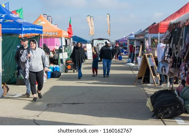 Germiston, South Africa - August 19, 2018: Various stalls at the 2018 Rand Airshow in Germiston, South Africa as spectators arrive for the airshow