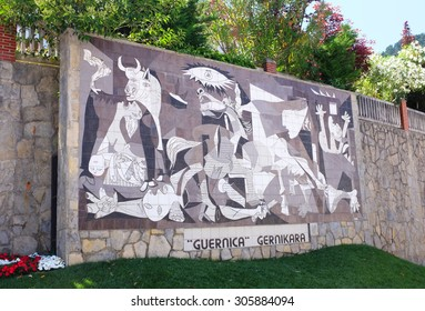 GERNIKA, SPAIN - JULY 7, 2015: Mosaic reproduction of Picasso'??s Guernica. The text expresses the desire of locals for the original canvas to be displayed in this town that inspired its creation