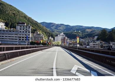 Gero Bridge towards Gero Onsen, the famous onsen city in Gifu Prefecture, Japan.
