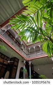 GEROGETOWN, MALAYSIA - JAN 20, 2018: Cheong Fatt Tze mansion (Blue Mansion): Intertior, Courtyard