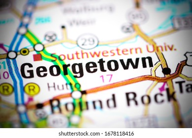 Gerogetown. Texas. USA on a map