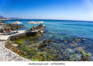 GEROLIMENAS, LACONIA, GREECE - AUGUST 2019: The famous Kyrimai hotel. It is housed in a fully restored nineteenth century building complex, just off the southernmost tip of Mani, in rural Greece.