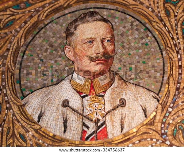 GEROLSTEIN, GERMANY - OCTOBER 10, 2015: Mosaic of Kaiser Wilhelm II, the last German Emperor and King of Prussia from 1888 to 1918, in the Redeemer Church of Gerolstein, Eifel, Germany.