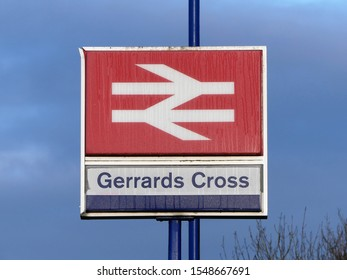 Gerrards Cross, Buckinghamshire, England, UK - November 3rd 2019: Gerrards Cross railway station sign. The station is on the Chiltern Main Line between Denham Golf Club and Seer Green and Jordans.