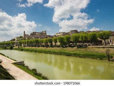 Gers river and medieval city with the cathedral in Auch, the capital of Gascony, Gers, France
