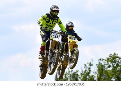 Gerstetten,Germany-August 04,2019:Unidentified rider in action in International 47 Gerstetten ADAC Motocross.
