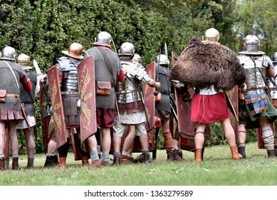 Gessate, Milano, Italy - April 07 2019 : reenactment of Roman army legion life and war tactics simulation