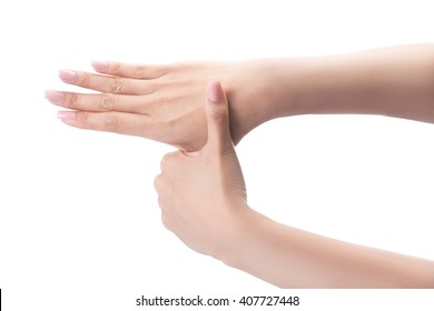 Gesture of a beautiful woman hand washing her hands isolated on white with clipping path.