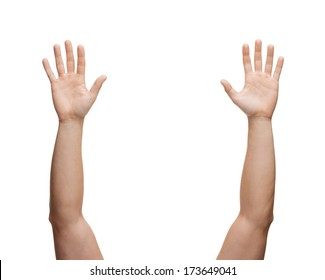 gesture and body parts concept - two man hands waving hands