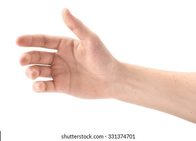 The gesture of a hand holding a phone on white background, isolated