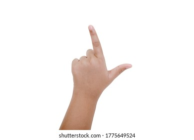 The gesture of hand isolated over white background. Left-handers day