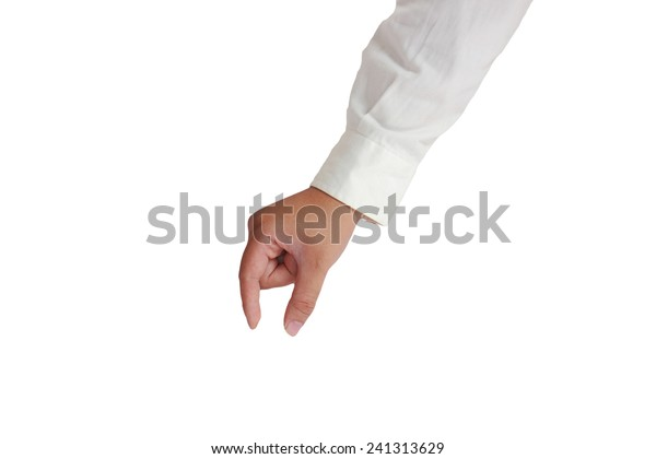 Gesture of hand picking up in formal long sleeved shirt isolated on white