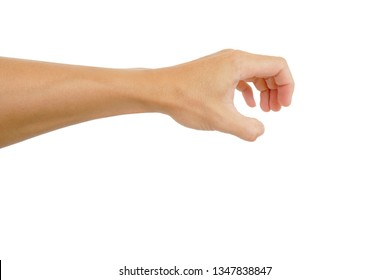 gesture of hand is reach out for catch on white background
