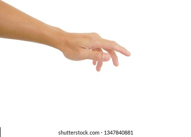 gesture of hand reach out for touch onwhite background