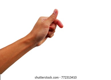 gesture of hand show up for use thumb press scan on white background