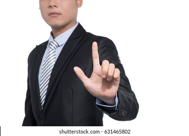 The gesture of a hand touching on white background, isolated