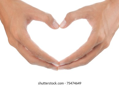 gesture of woman?s hands make heart form
