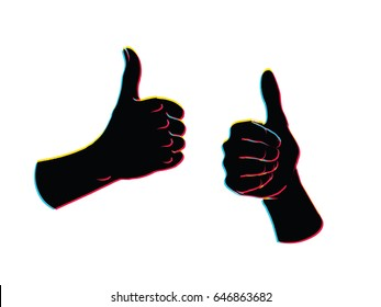 Gesture. Like sign. Two female hands with thumbs up. Illustration in sketch style with bias color effect on a white background. Making approval signal. Offset red, blue, yellow silhouettes.