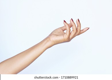 Gesture woman hand showing. photo isolate on white copy space