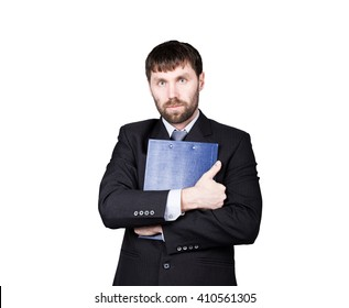 gestures distrust lies. body language. man in business suit. closed position. emphasis thumbs. crossed arms, hugging folder with papers. isolated on white background. concept of true or false