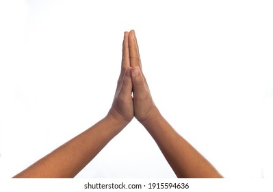 Gestures of greeting and success with one hand and two hands